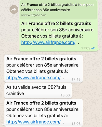 phishing à l'encontre d'Air France par attaque homographique