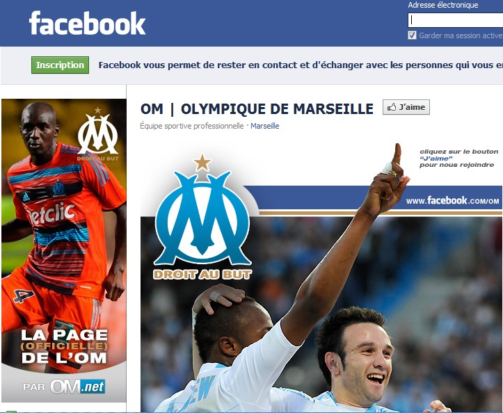 screenshot de la page facebook de l'OM