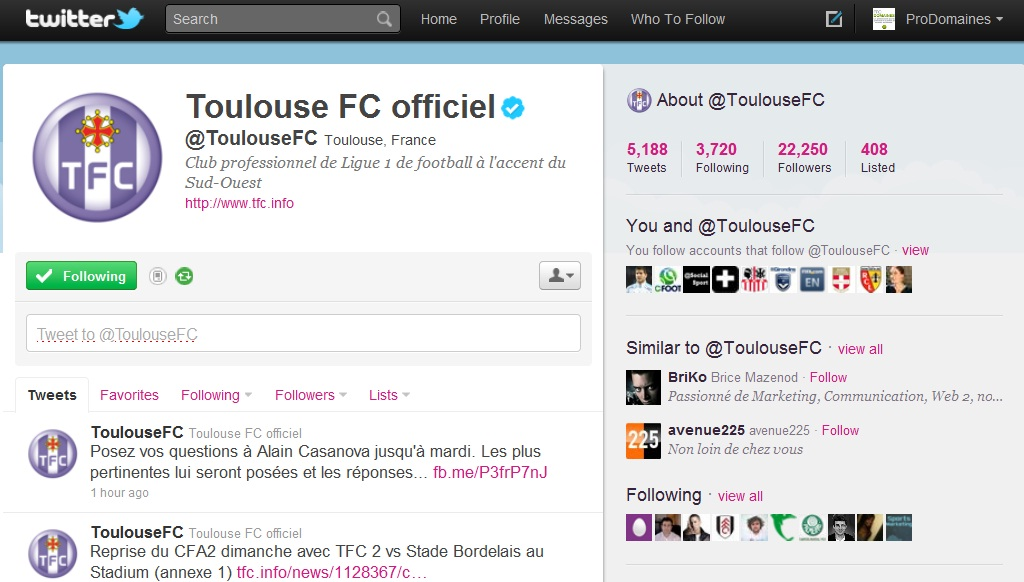 screenshot de la page Twitter du Toulouse football club