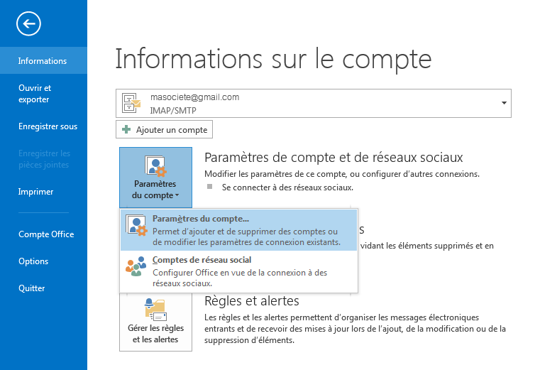 interface de Office Outlook