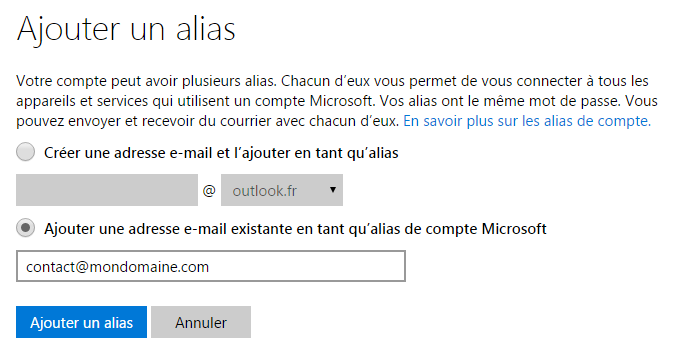 interface d'Outlook.com : ajouter un alias e-mail