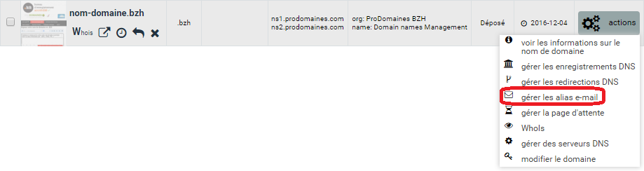 interface de ProDomaines : création d'alias de redirection e-mail
