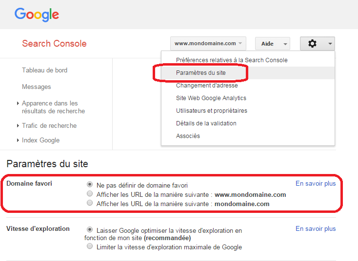 interface de la Google Search Console : déclaration de domaine favori