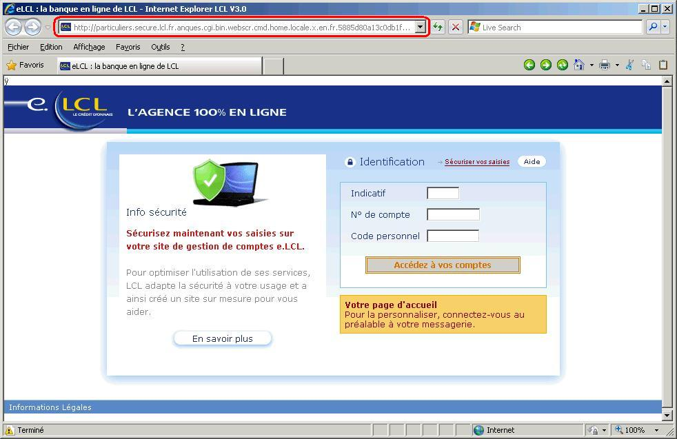 Exemple de phishing LCL